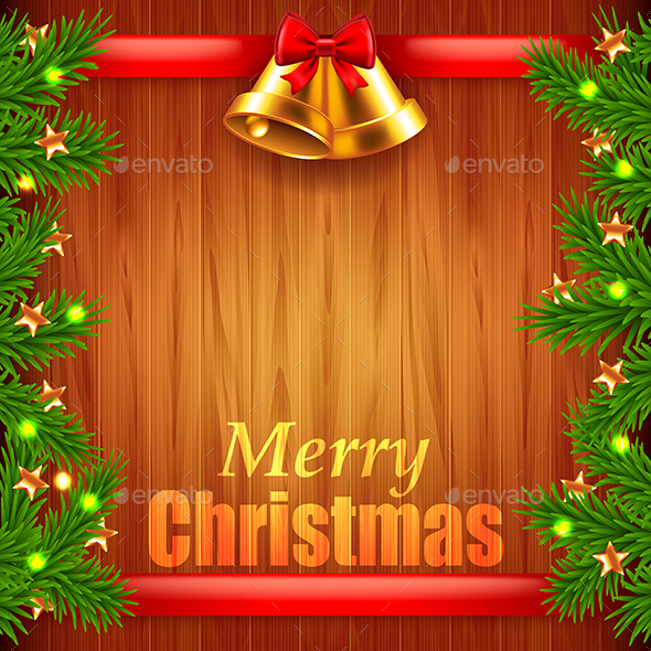 Christmas Tree Branches and Bells on Wood Background