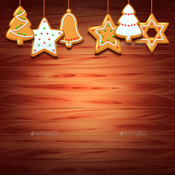 Christmas Cookies on Wood Background