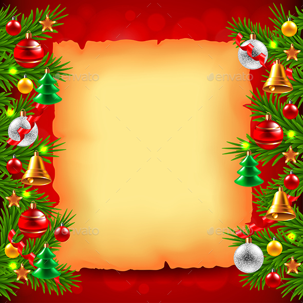 Christmas Tree Branches, Paper and Red Background - Christmas Seasons/Holidays
