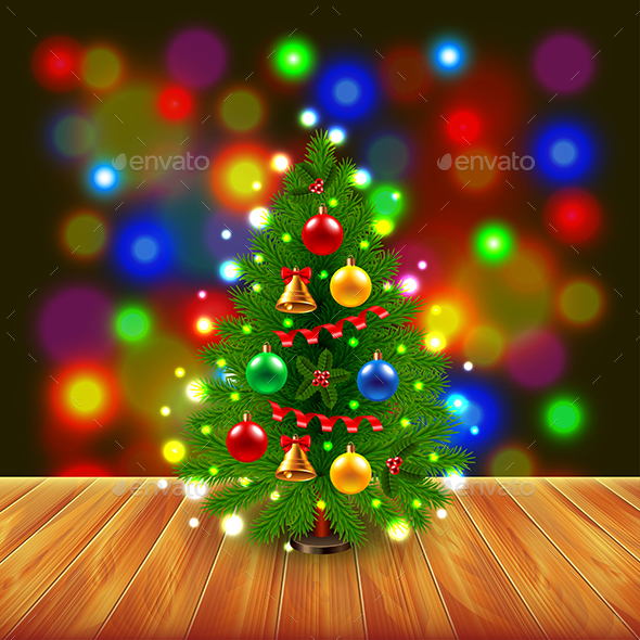 Christmas Tree on Wooden Table, Colorful Background - Christmas Seasons/Holidays
