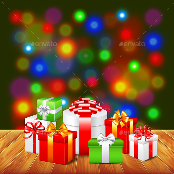 Christmas Gifts on Wooden Table Colorful Background - Christmas Seasons/Holidays
