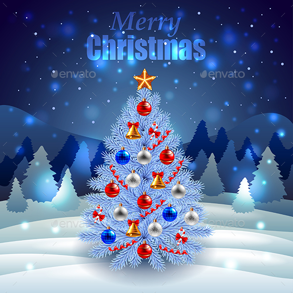 Decorated Christmas Tree on Night Winter Scenery - Christmas Seasons/Holidays