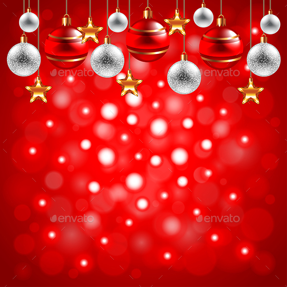 Christmas Balls on Red Background - Christmas Seasons/Holidays