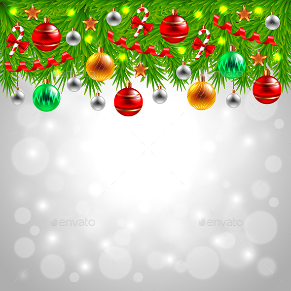 Decorated Christmas Tree Branches on Snowy Background