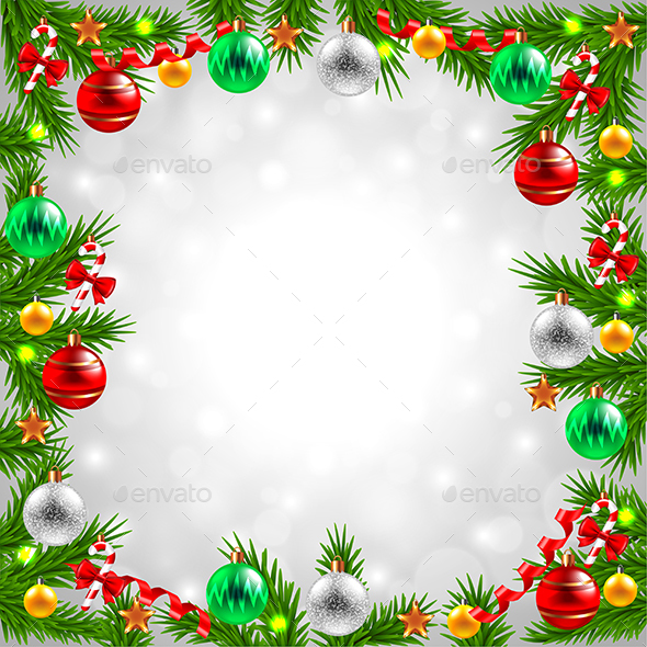 Christmas Tree Branches around the Snowy Background - Christmas Seasons/Holidays