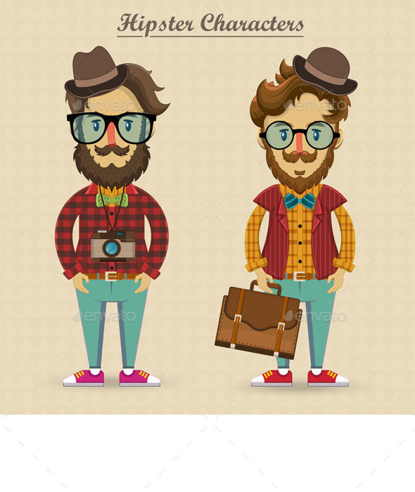 Hipster Characters Vector  - People Characters