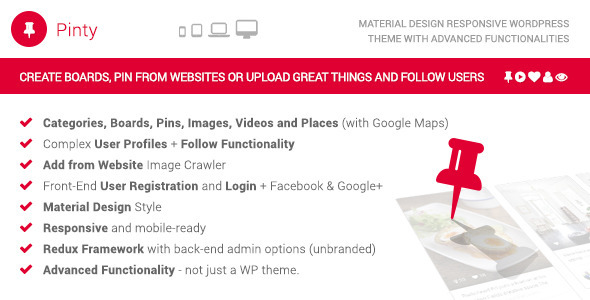 Pinty - Pins Responsive Material Design WP Theme - Portfolio Creative