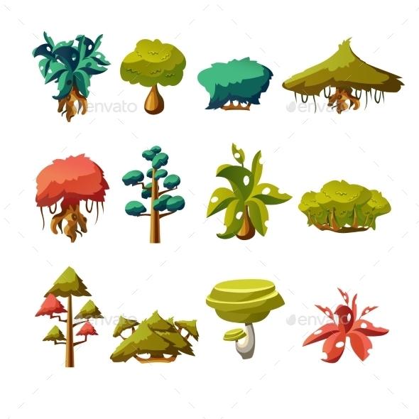 Cartoon Nature Elements, Vector Objects  - Miscellaneous Vectors