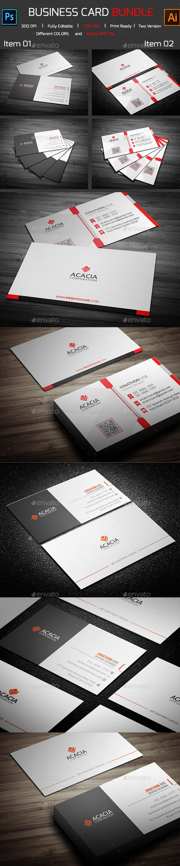 Bundle- 2 in 1 Business Card 03 - Corporate Business Cards
