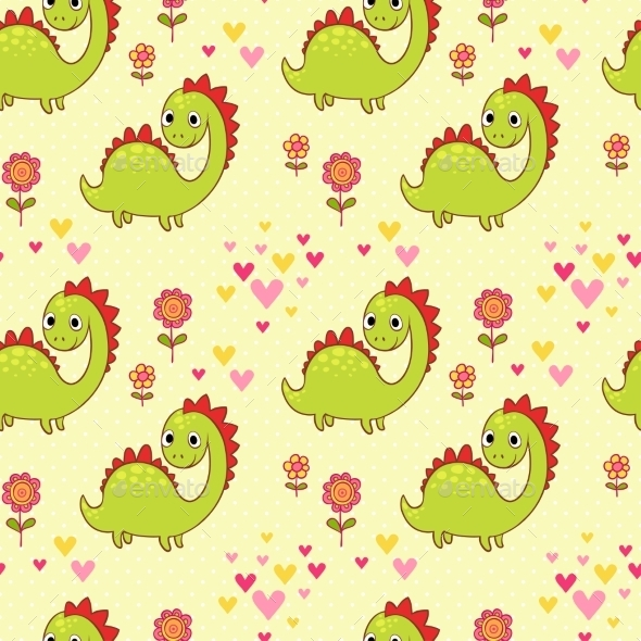 Seamless Pattern With Dinosaurs In Cartoon Vector