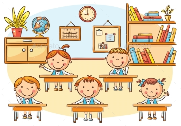 Little Cartoon Kids In The Classroom At The Lesson - People Characters