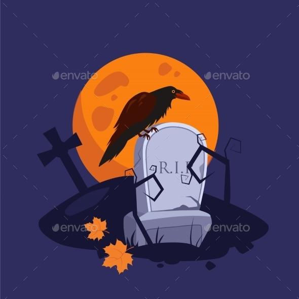 Halloween Raven Sitting on a Gravestone  - Miscellaneous Vectors
