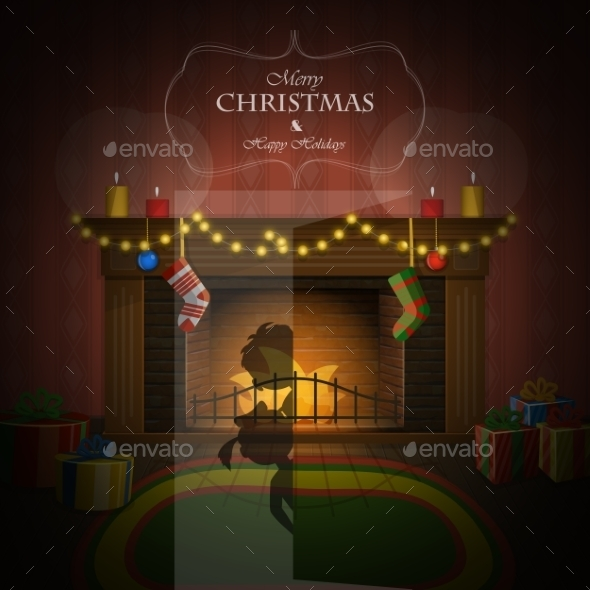 Christmas Decorated Fireplace Illustration - Christmas Seasons/Holidays