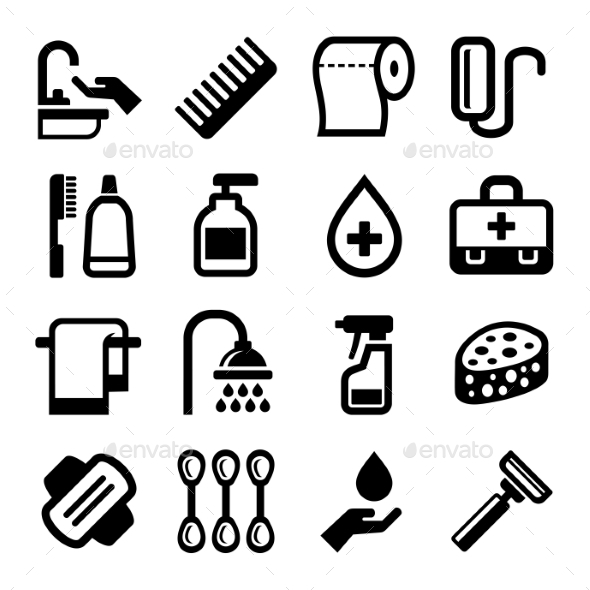 Hygiene Icons Set On White Background. Vector - Objects Icons