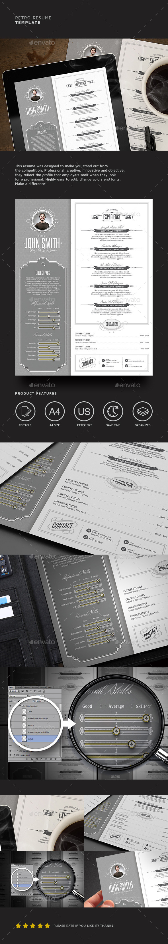Retro Resume Template - Resumes Stationery
