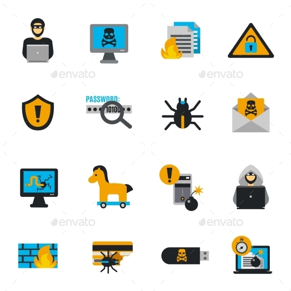 Hacker Icons Flat Set - Software Icons