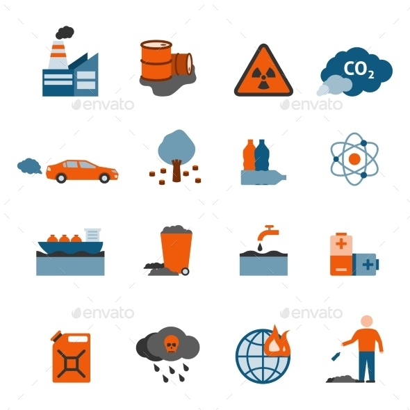Pollution Icons Set  - Man-made objects Objects