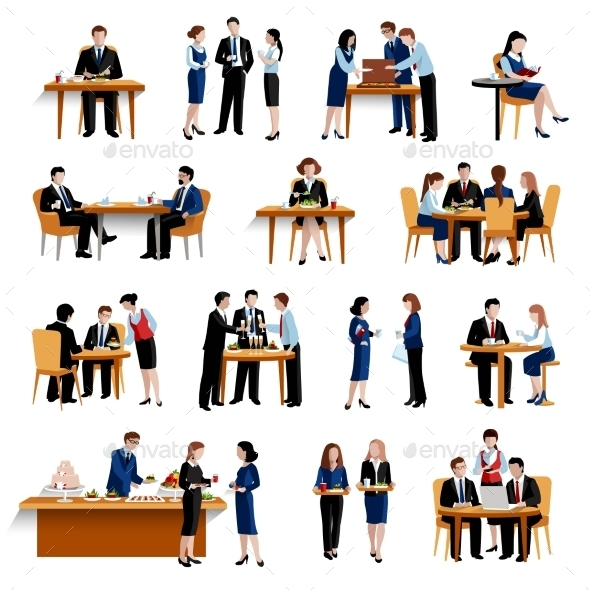 Business Lunch Flat Icons Collection