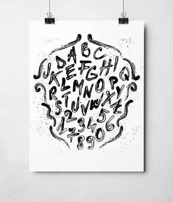 Brushed paint font - Grunge Decorative