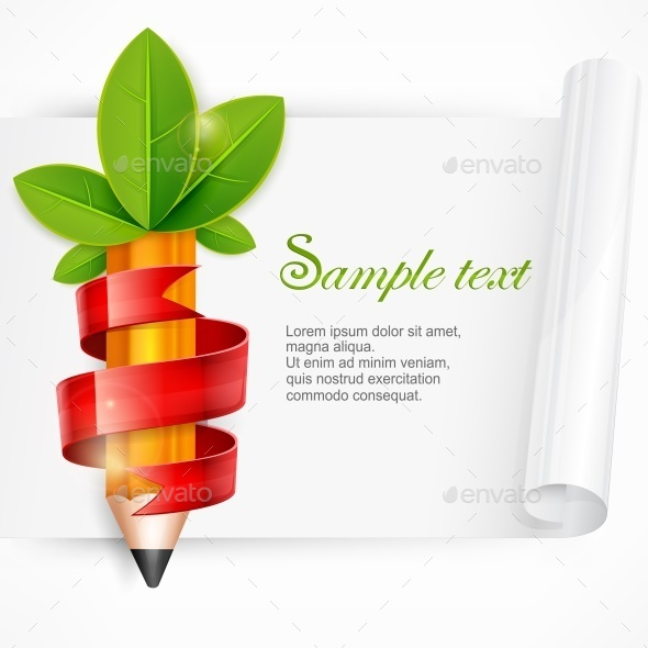 Pencil with Leaves and Ribbon - Concepts Business