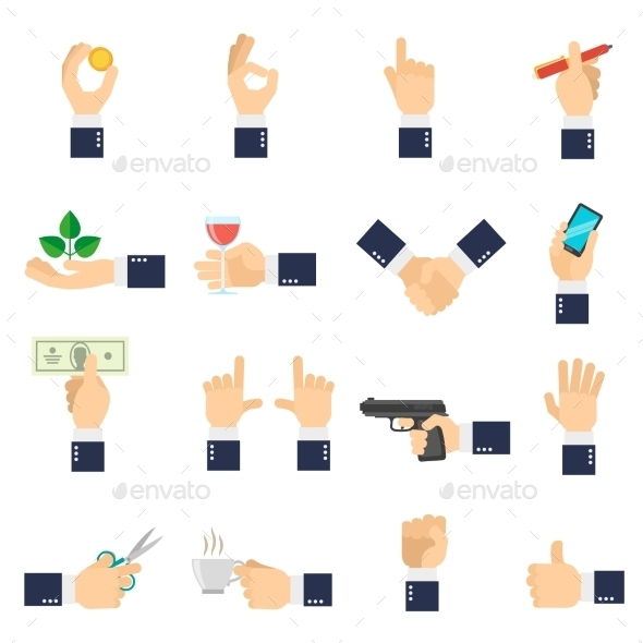 Business Hand Icons Flat - Objects Icons