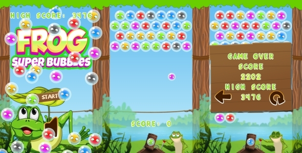 Frog Super Bubbles HTML5 Game CAPX