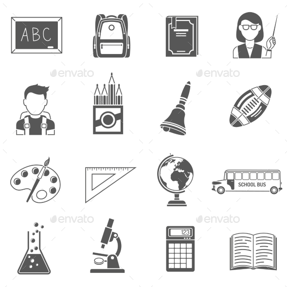 Education Icons Black Set