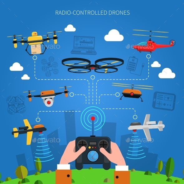 Radio-controlled Drones Concept  - Computers Technology