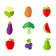 Organic Fruits and Vegetables Flat Style Icons Set - GraphicRiver Item for Sale