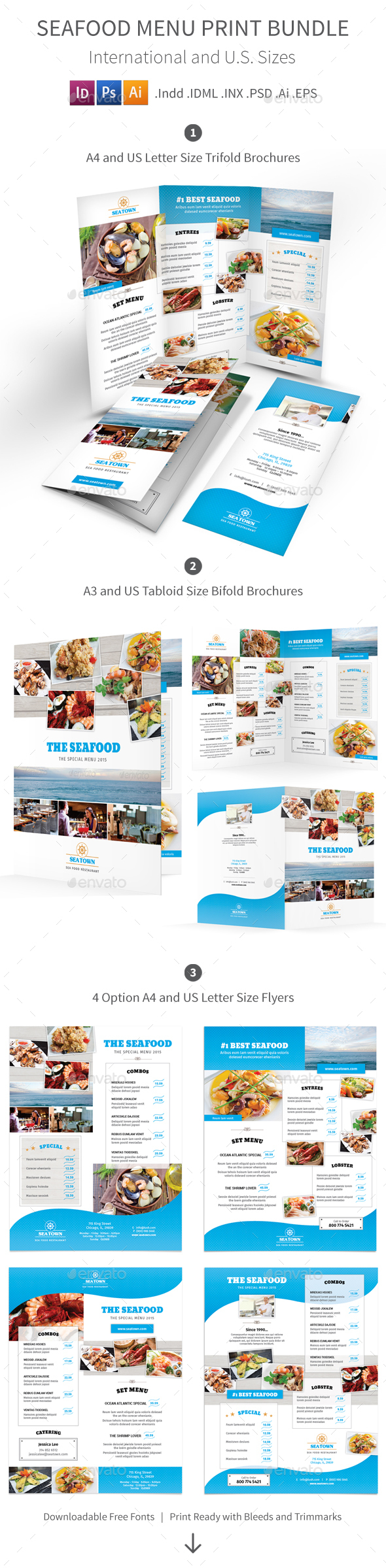 Seafood Restaurant Menu Print Bundle - Food Menus Print Templates