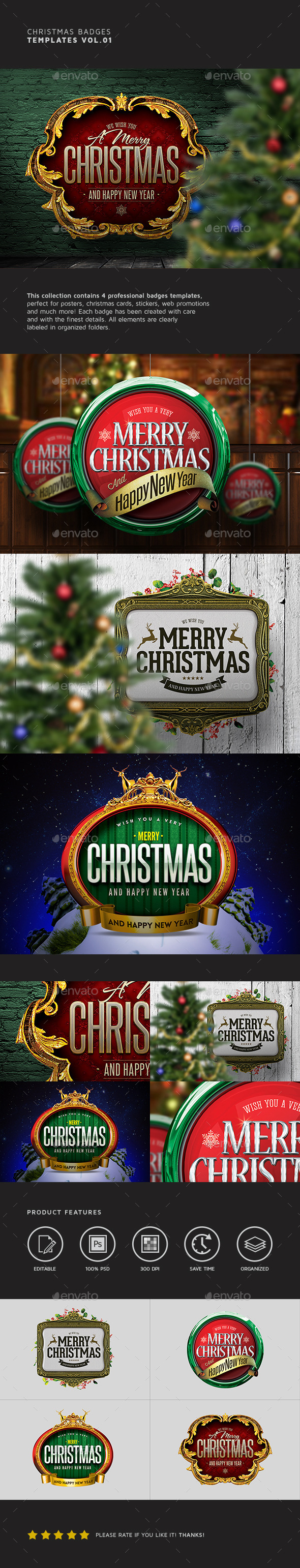 Christmas Badges Vol.01 - Badges & Stickers Web Elements
