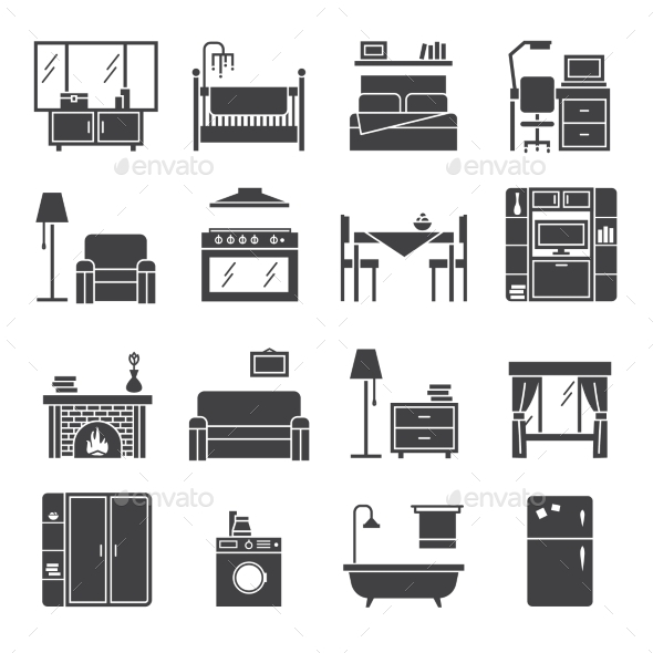 Interior And Furniture Icons Set - Man-made objects Objects