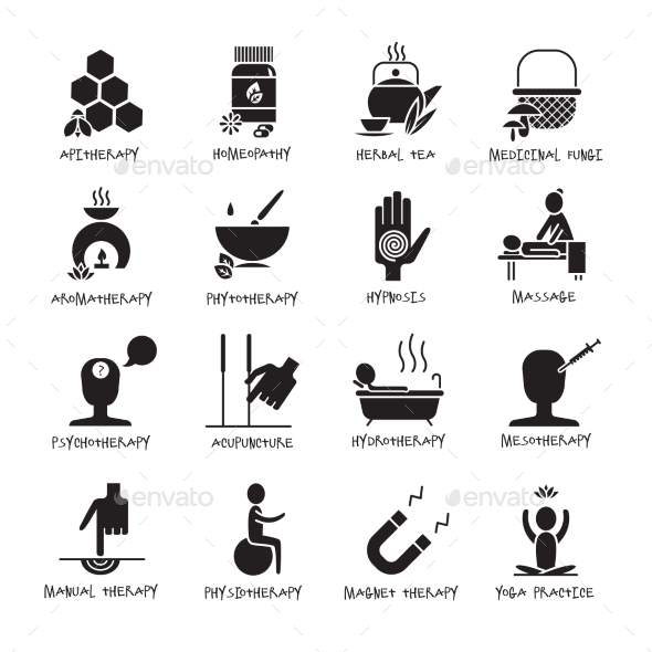 Alternative Medicine Black Icons Set  - Abstract Icons