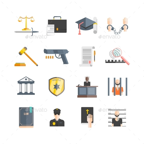 Justice Icons Set - People Characters