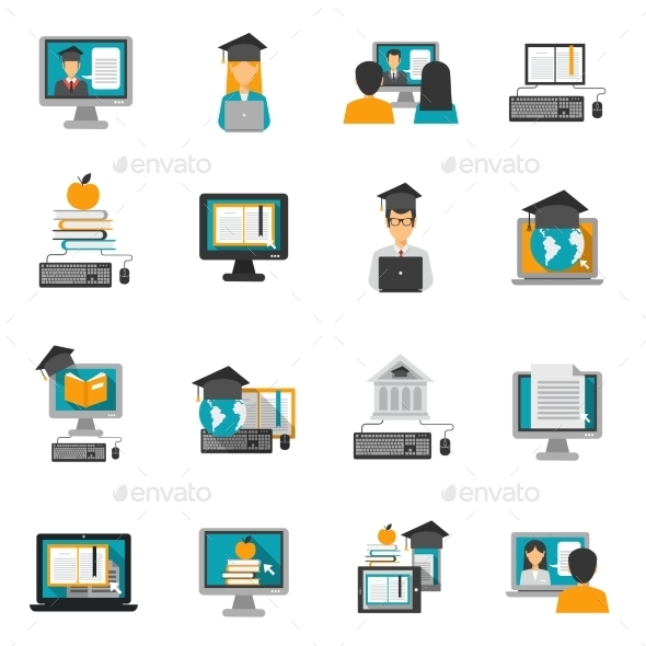 E-learning Icons Flat Set - Software Icons