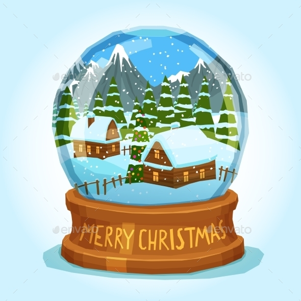 Snow Globe Merry Christmas Card - Man-made Objects Objects
