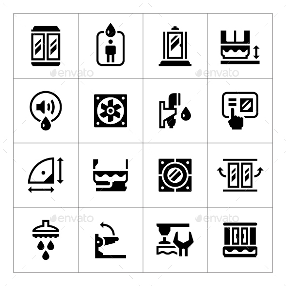 Set Icons of Shower Cabin - Man-made objects Objects