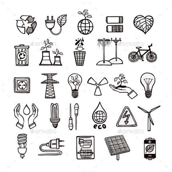 Ecology And Energy Icon Set  - Technology Icons