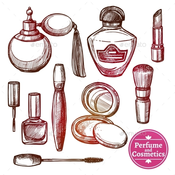 Cosmetics Set Hand Drawn Style - Retail Commercial / Shopping