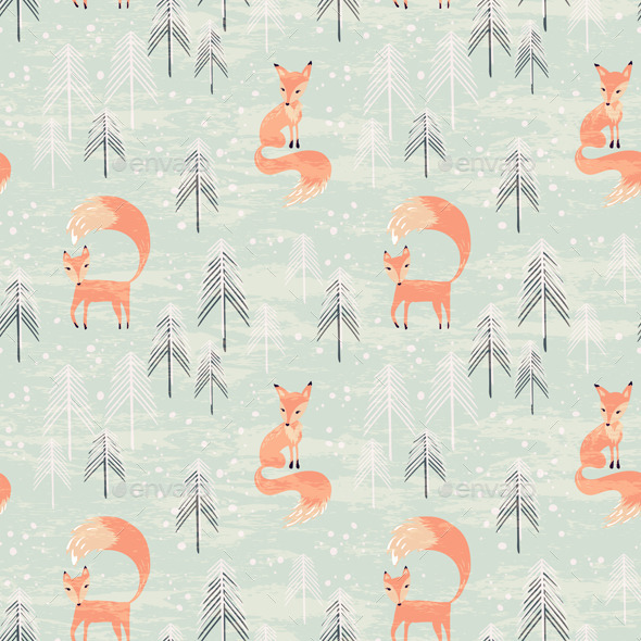 Seamless Pattern with Fox in Winter Forest - Animals Characters