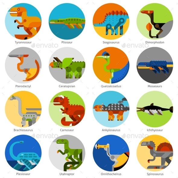 Dinosaur Icons Set - Animals Characters