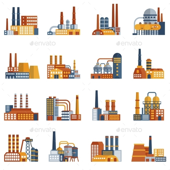 Factory Flat Icons Set - Buildings Objects