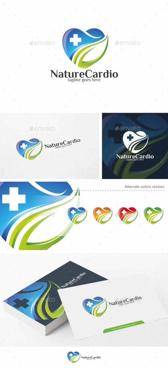 Nature Cardio Heart Logo Template
