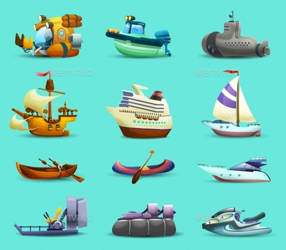 Ships and Boats Icons Set  - Travel Conceptual