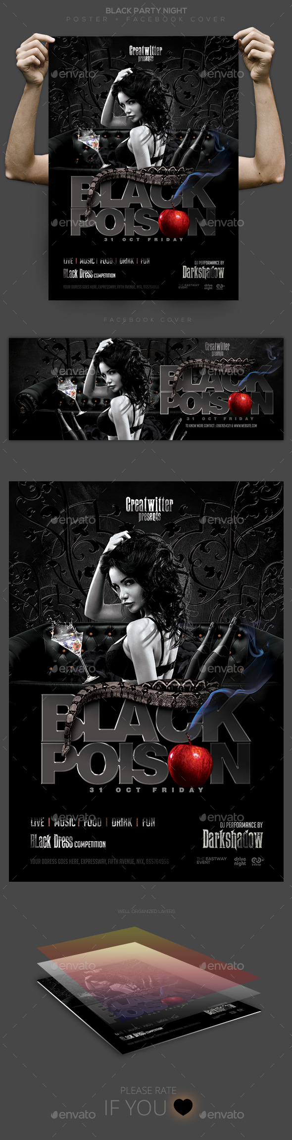 Black Party Poster / Flyer / Facebook Cover - Clubs & Parties Events