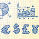 Hand-drawn finance and currency icons set and seam - GraphicRiver Item for Sale