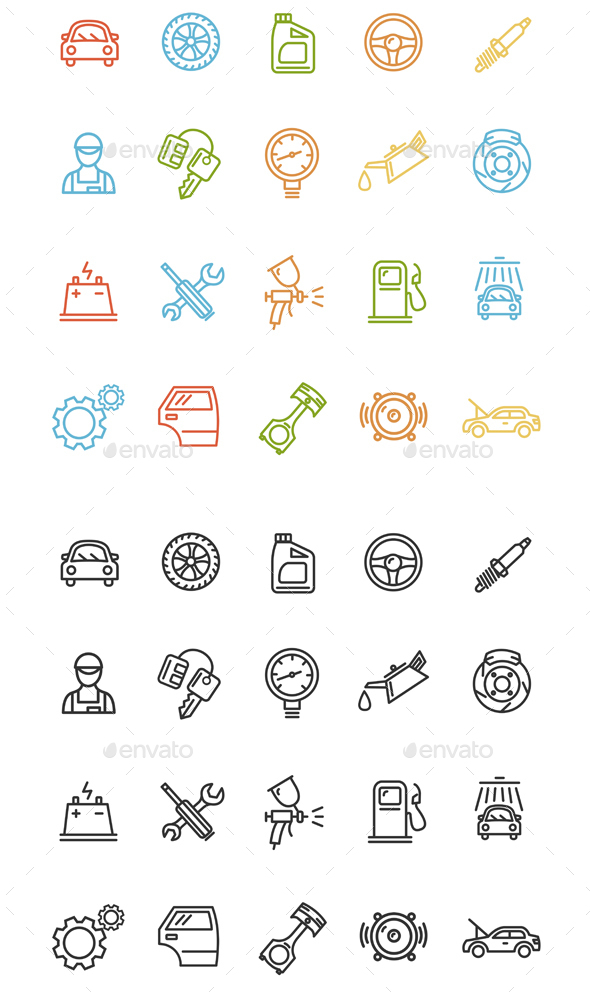Car Service Outline Icons Set - Decorative Symbols Decorative