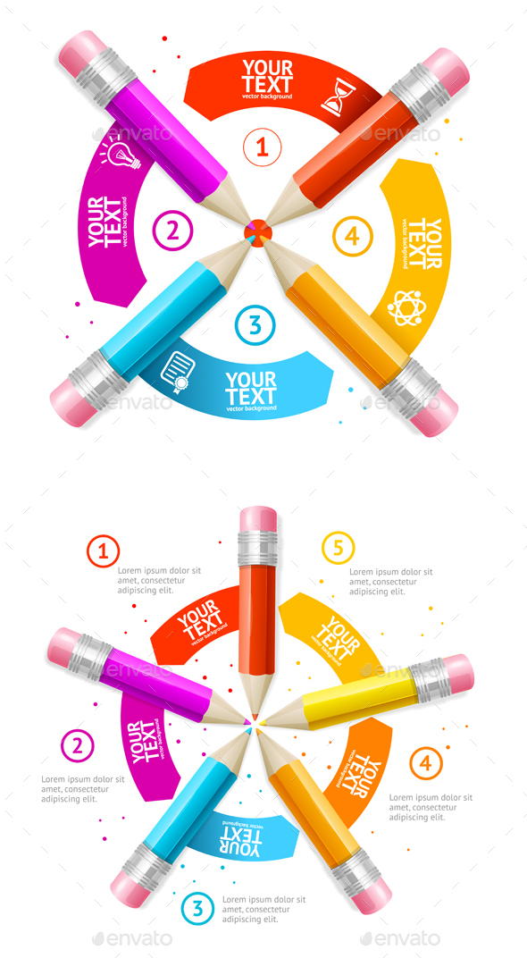 Option Banner Pencil Infographic