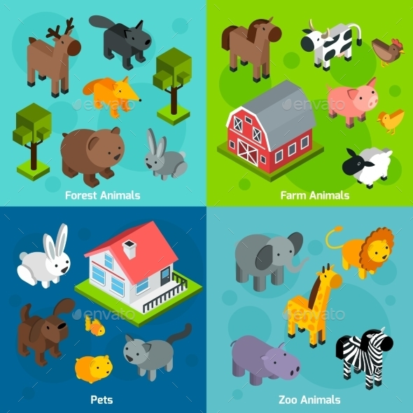 Isometric Animals Set - Animals Characters