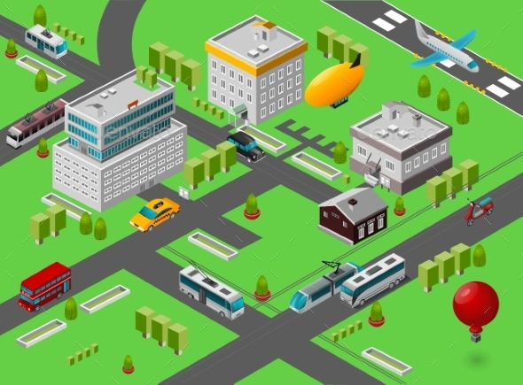 Isometric City Street - Backgrounds Decorative